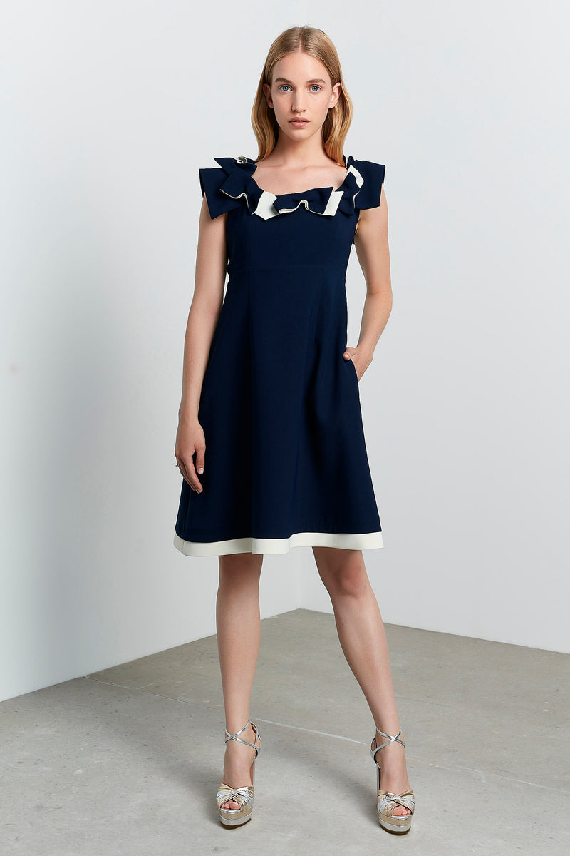 Machka Bow Neckline Sleeveless A-Line Short Dress Navy
