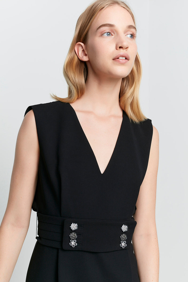 Machka Sleeveless Back Keyhole Embellished Belt Dress Black