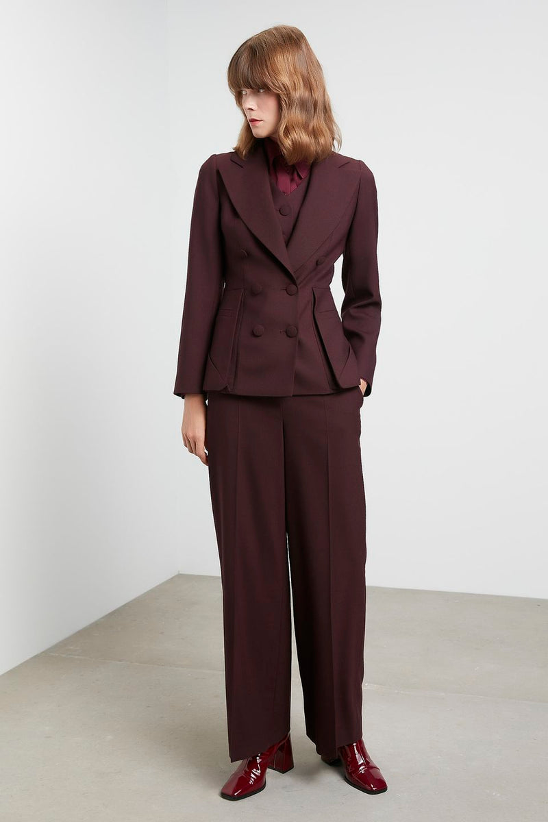 Machka High Waist Palazzo Trouser Bordeaux