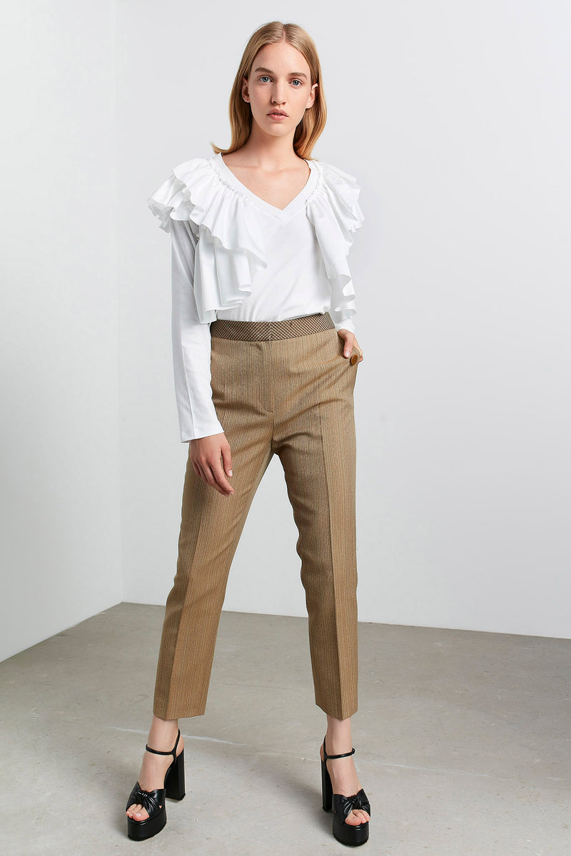 Machka Striped High Waist Trouser Mustard