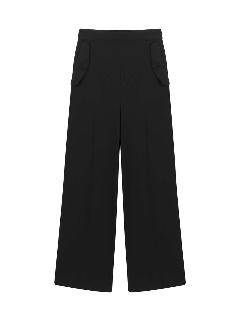 Machka High Waist Wide Leg Trouser Black