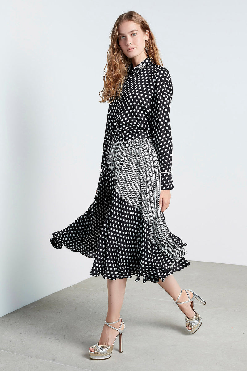 Machka Polka Dot Pleated A-Line Midi Skirt Black