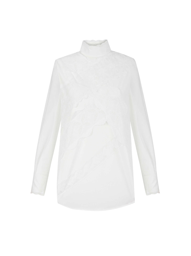 Machka Long Sleeve High Neckline Lace Detail Blouse White