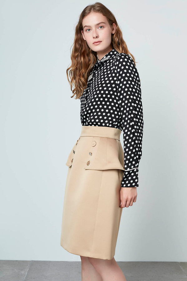 Machka Polka Dot Long Sleeve Embellished Collar Shirt Black