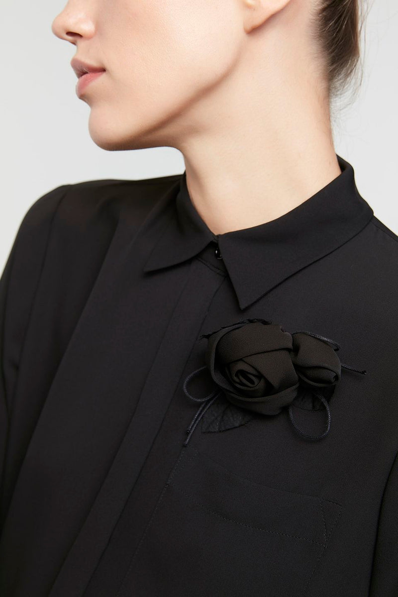 Machka Long Sleeve Flower Detail Shirt Black