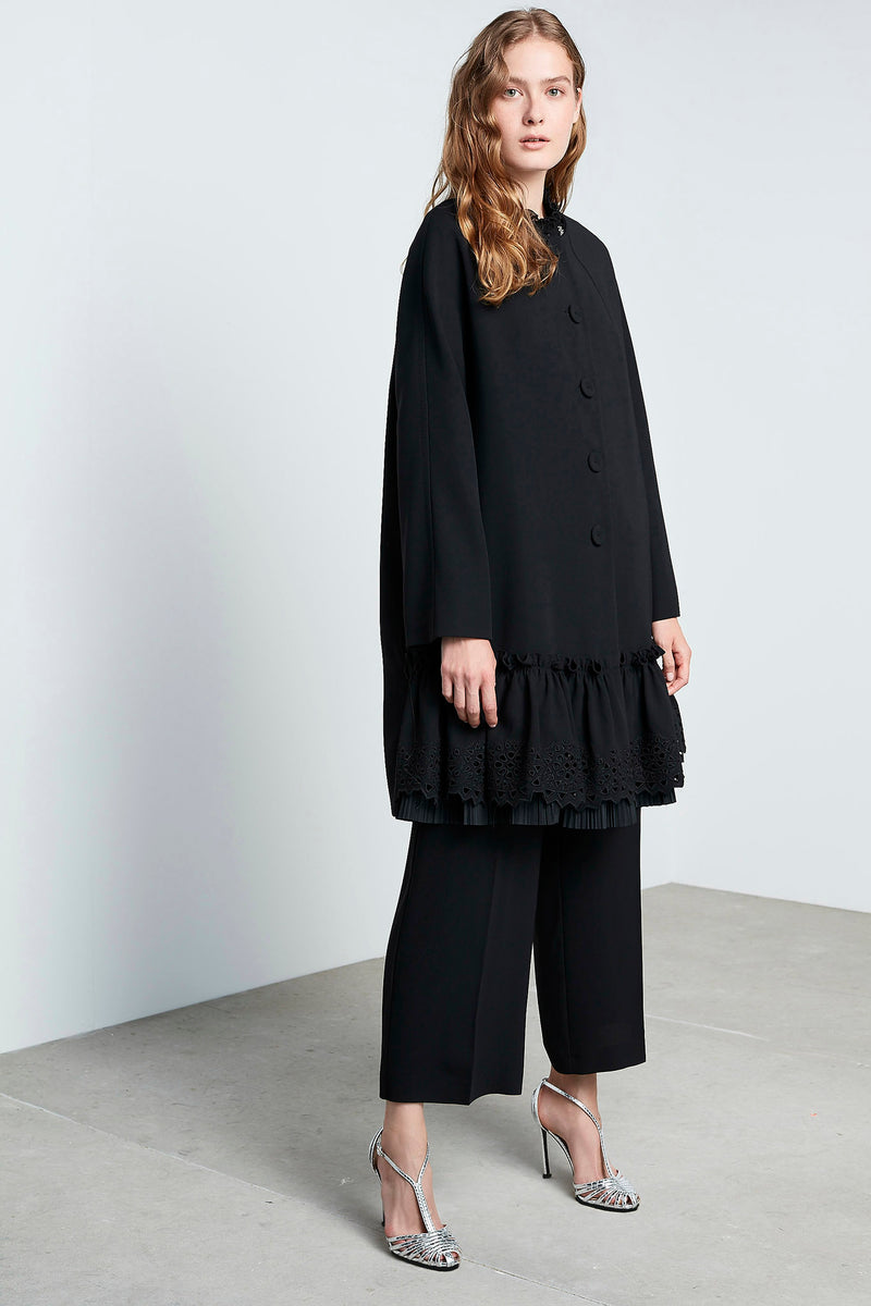 Machka Long Sleeve Pleated Lace Hem Trench Coat Black