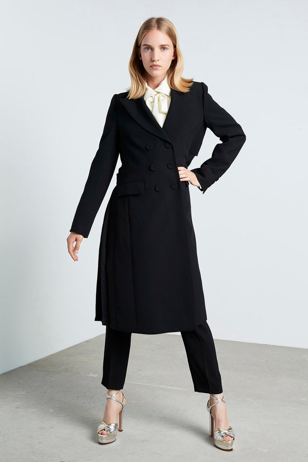 Machka Double Breasted Back Pleat Trench Coat Black