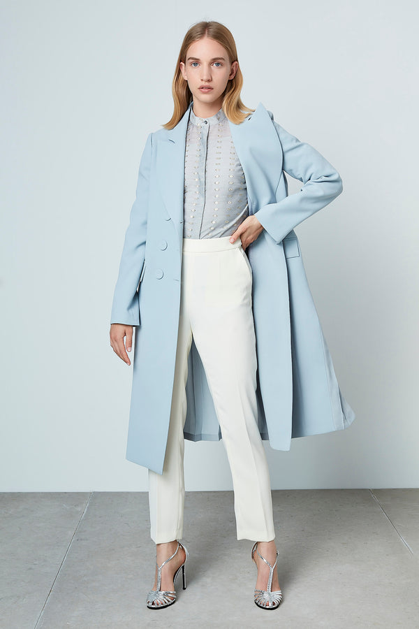 Machka Double Breasted Back Pleat Trench Coat Ice Blue