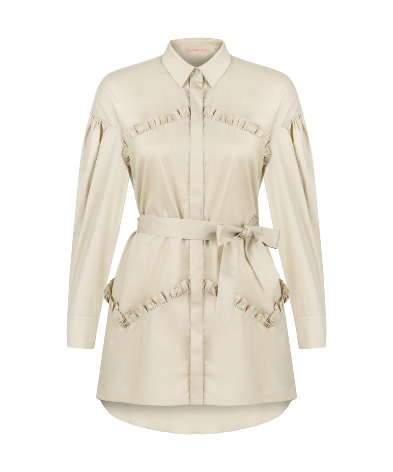 Machka Long Sleeve Frill Detail Belted Relaxed Fit Shirt Stone