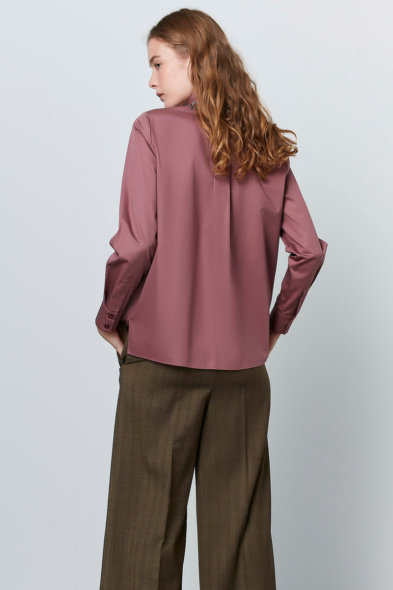 Machka Long Sleeve Embellished Neckline Shirt Old Rose