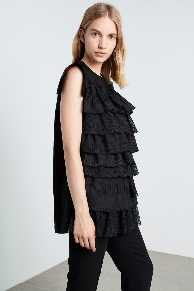 Machka Sleeveless Lace-Ruffle Layered Detail T-Shirt Black