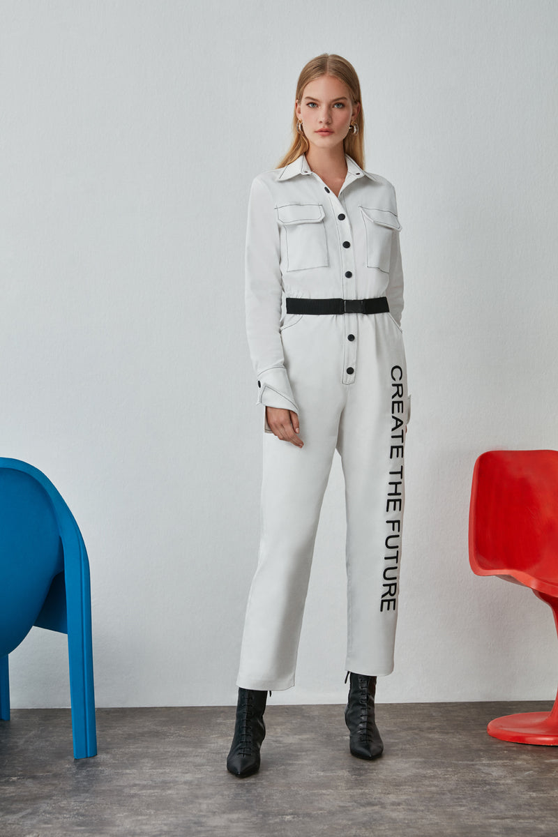 Nocturne Create The Future Print Jumpsuit Off White