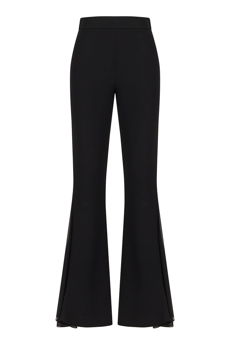 Nocturne High Waist Flared Trouser Black