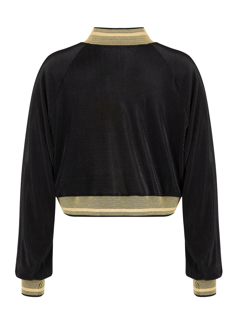 Nocturne Long Sleeve Ribbed Detail Blouse Black