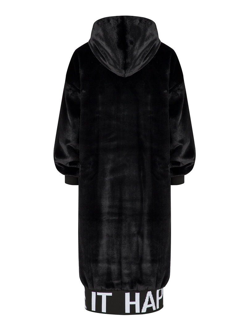 Nocturne Long Sleeve Hooded Fur Coat Black