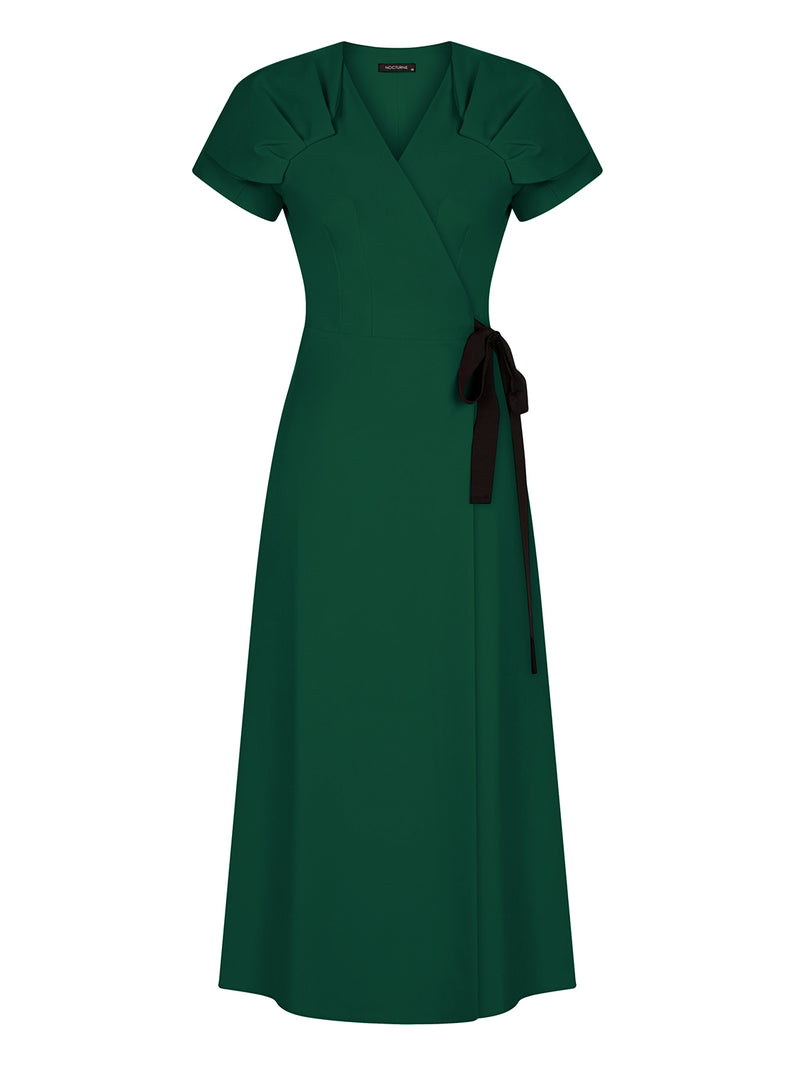 Nocturne Dress Slit Edge Green - Wardrobe Fashion