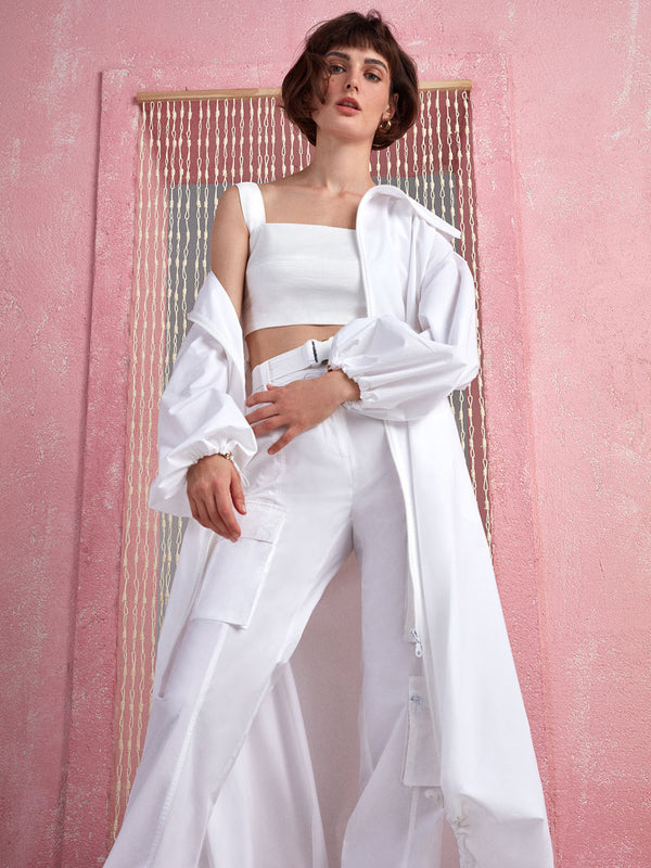 Nocturne Trenchcoat Zipper Off White - Wardrobe Fashion