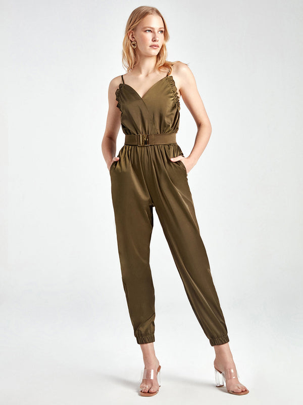 Nocturne Jumpsuit N/Sl Khaki - Wardrobe Fashion