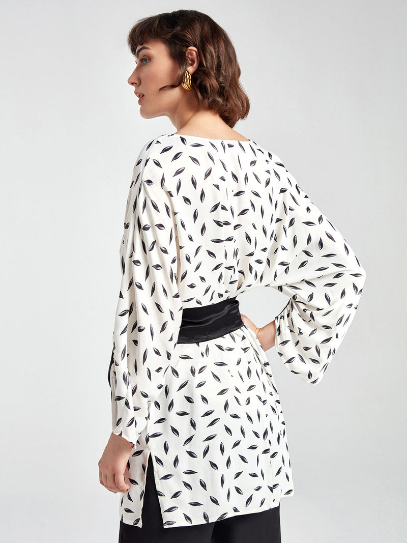 Nocturne Blouse Print +Belt L/Sl Off White - Wardrobe Fashion