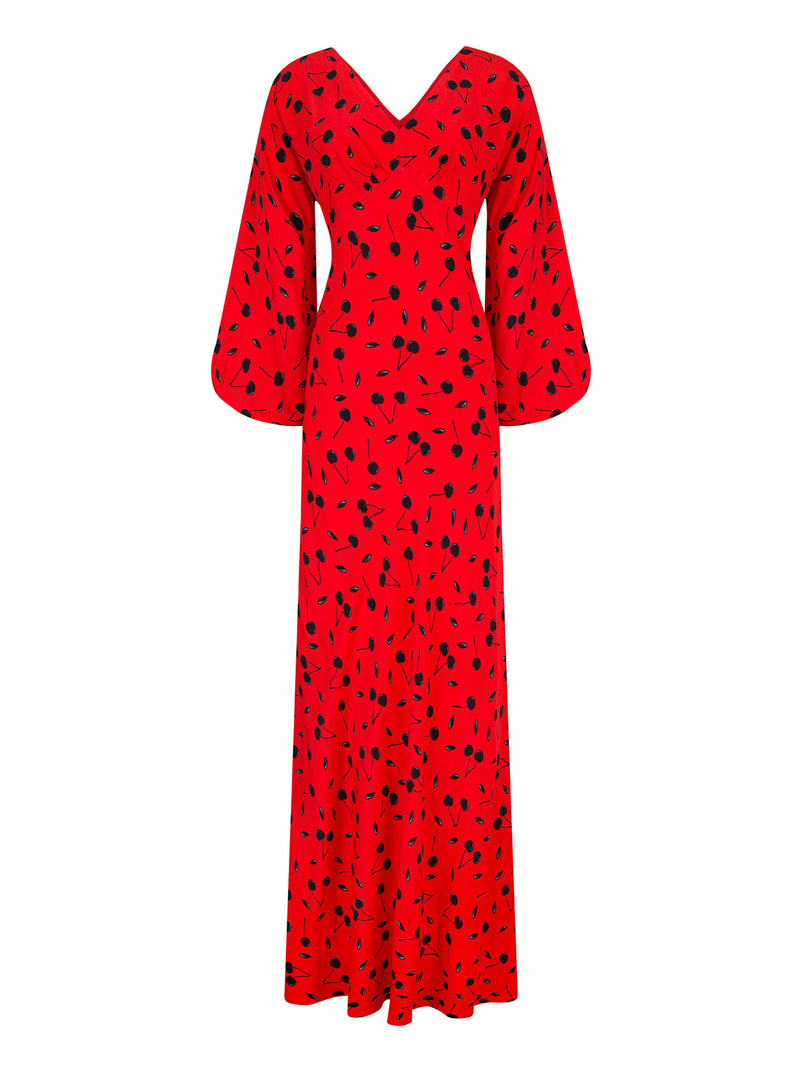 Nocturne Dress Print L/Sl Red - Wardrobe Fashion