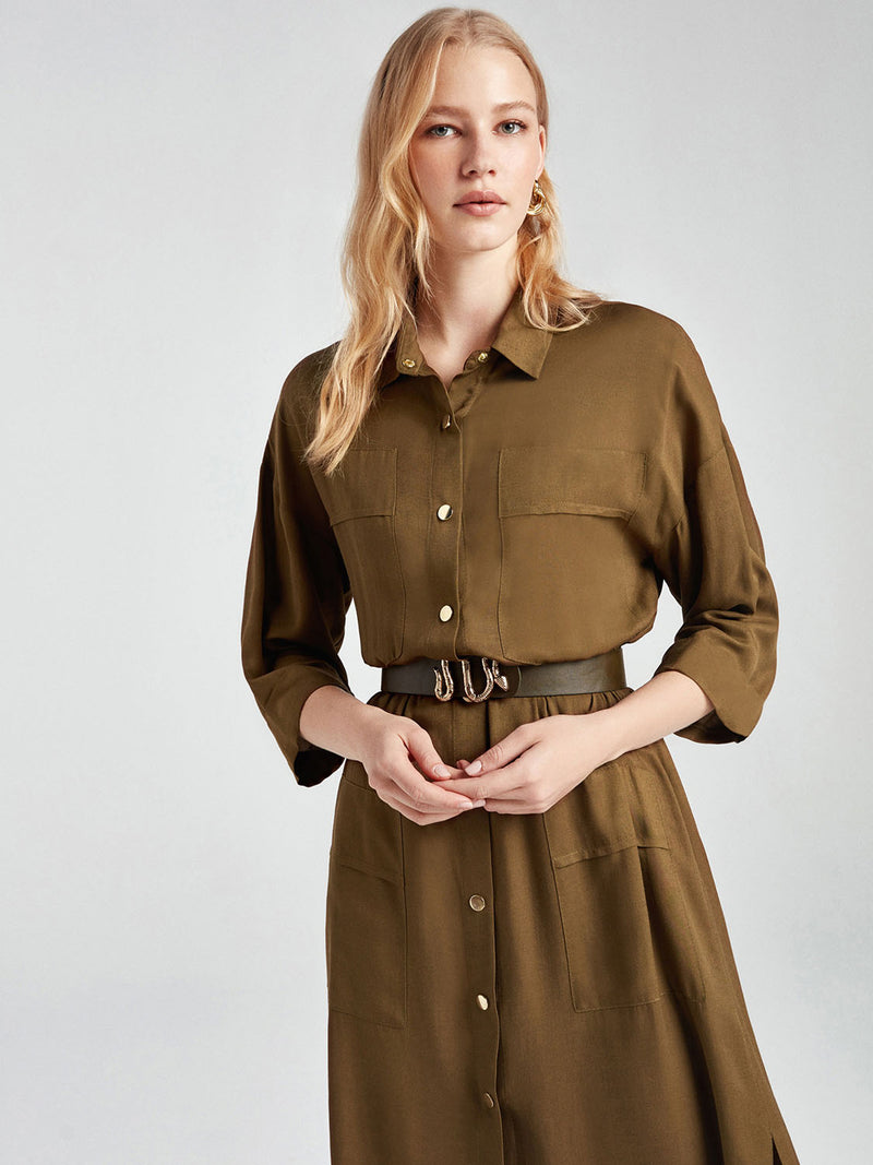 Nocturne Dress Shirt +Belt L/S Khaki - Wardrobe Fashion