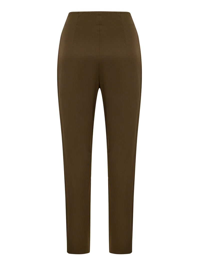 Nocturne Trouser Silk Khaki - Wardrobe Fashion