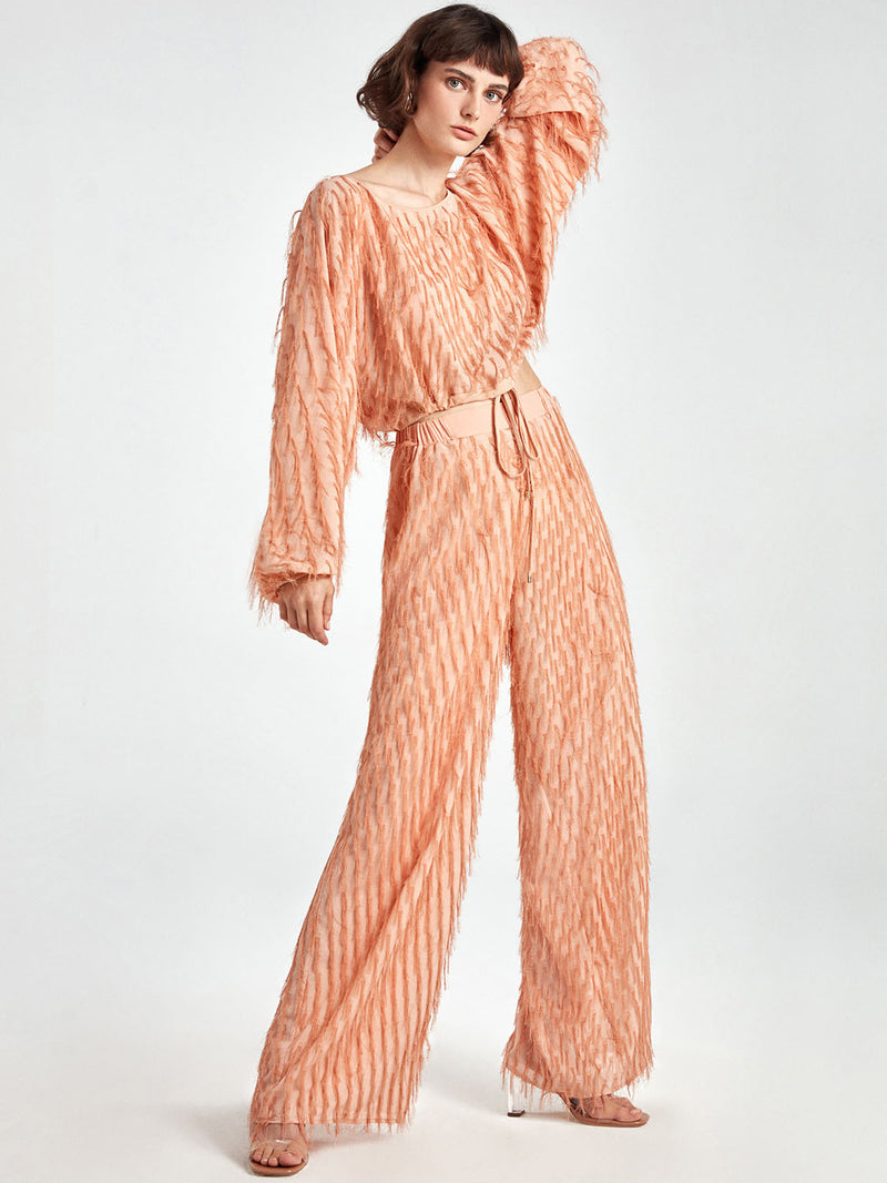 Nocturne Trouser Fringe Blush - Wardrobe Fashion
