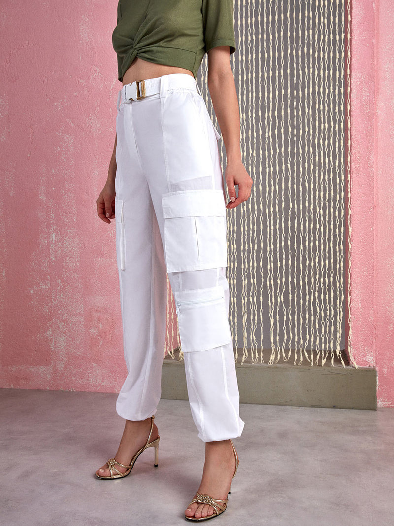 Nocturne Drawstring Cargo Pants Ecru - Wardrobe Fashion