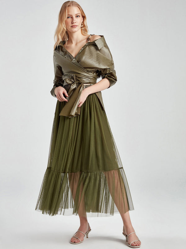 Nocturne Skirt Full Lace Khaki - Wardrobe Fashion