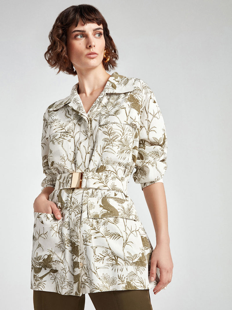 Nocturne Jacket Print +Belt Off White - Wardrobe Fashion