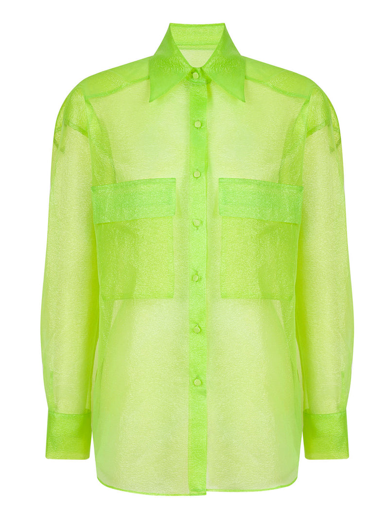Nocturne Glitter Organza Shirt Green - Wardrobe Fashion
