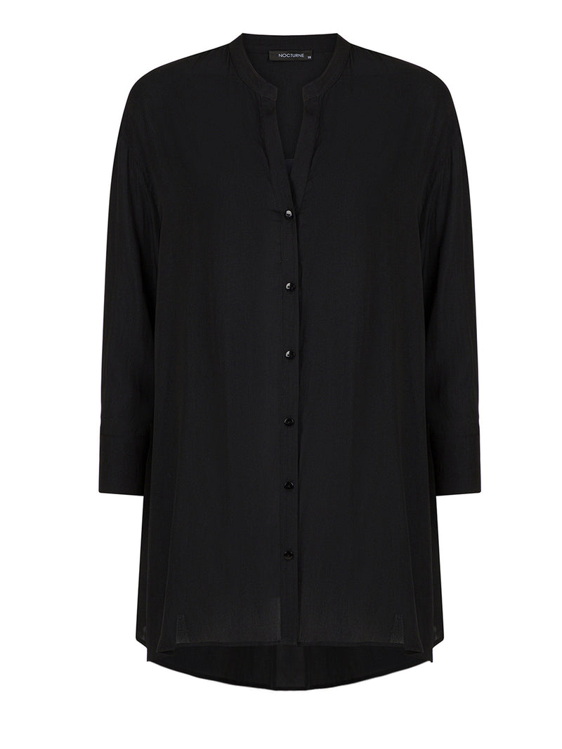 Nocturne Judge Collar Shirt Black - Wardrobe Fashion