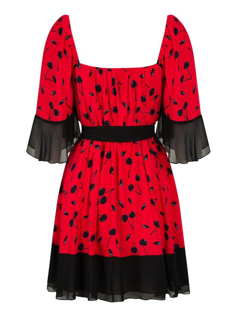 Nocturne Dress Short Print S/ Red - Wardrobe Fashion