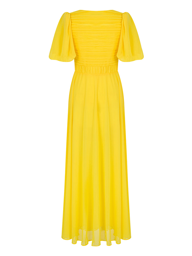 Nocturne Dress Pleat S/S Yellow - Wardrobe Fashion