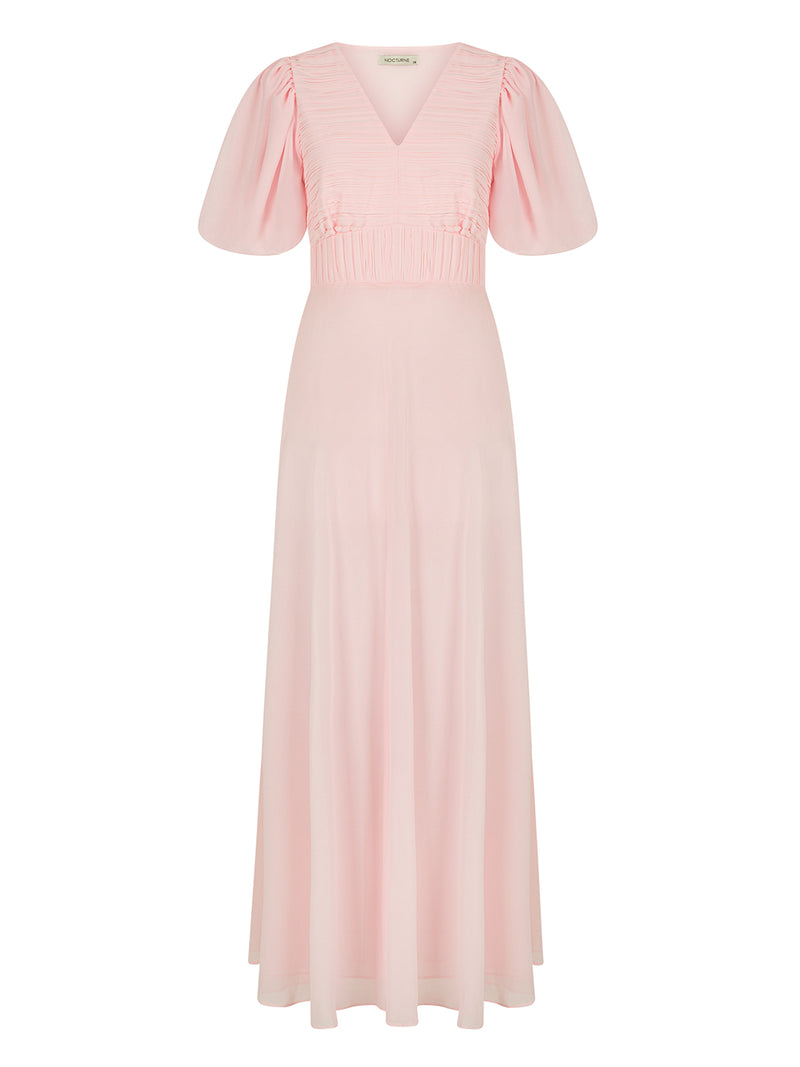 Nocturne Dress Pleat S/S Pink - Wardrobe Fashion