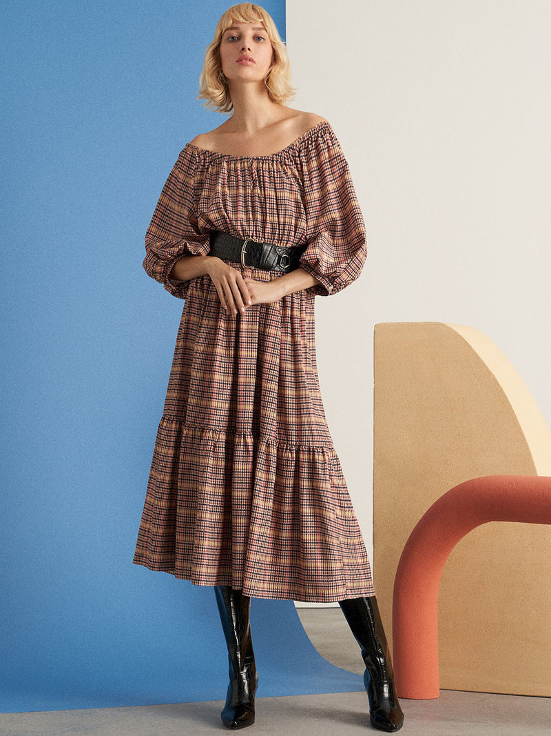 Nocturne Printed Balloon Long Sleeve Midi Dress Multi Color
