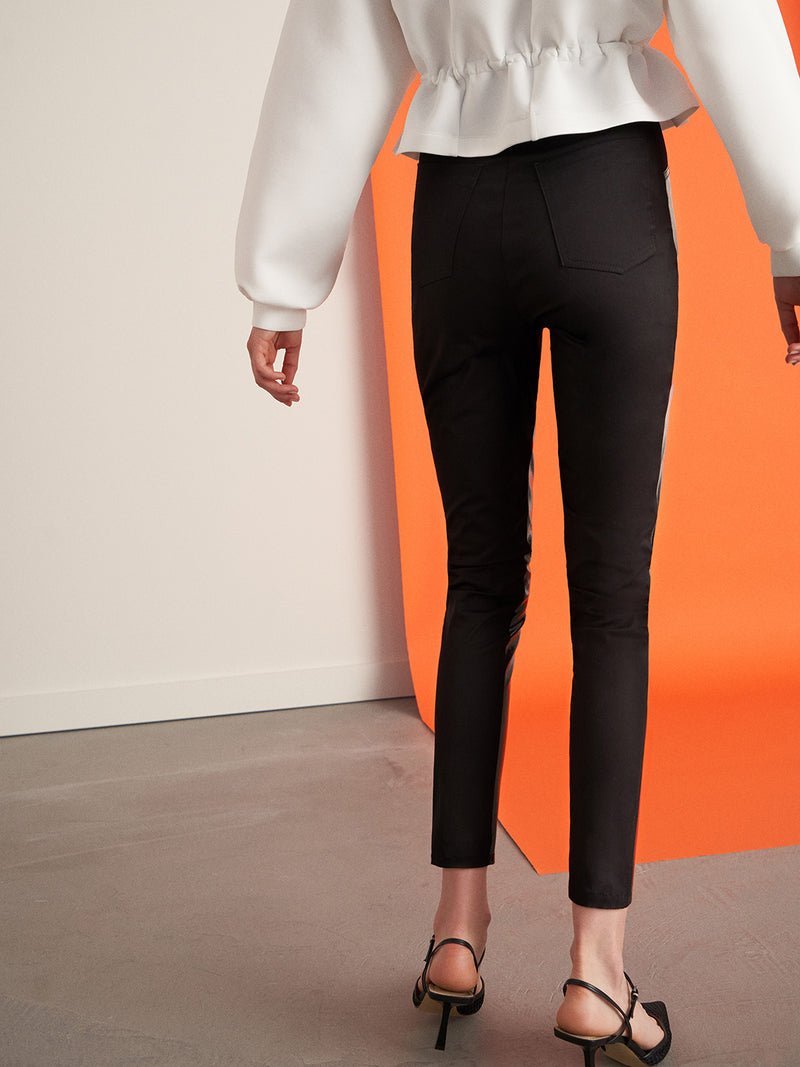 Nocturne Blended Fabric Patent Leather Pants Black