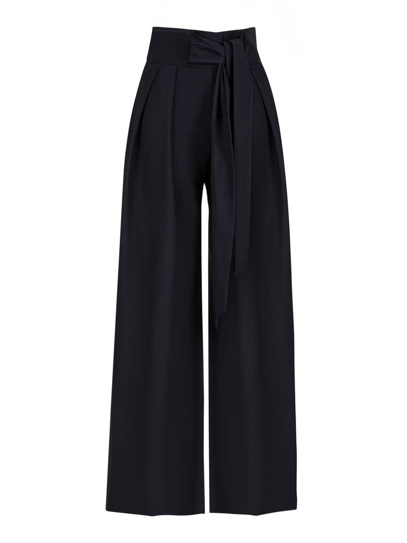 Nocturne High Waist Belted Palazzo Trouser Navy Blue
