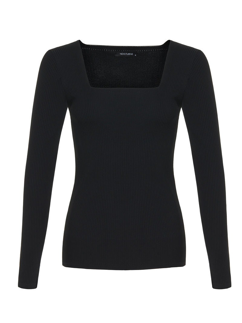 Nocturne Square Neck Sweater Sweater Black