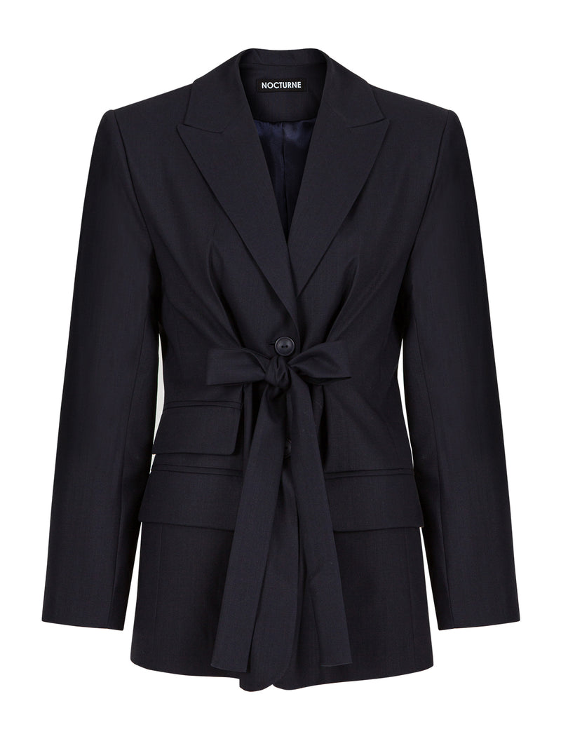 Nocturne Long Sleeve Single Breasted Belted Blazer Navy Blue