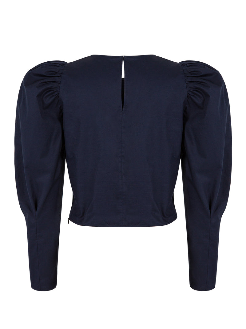 Nocturne Long Sleeve Gathered Detail Blouse Navy Blue
