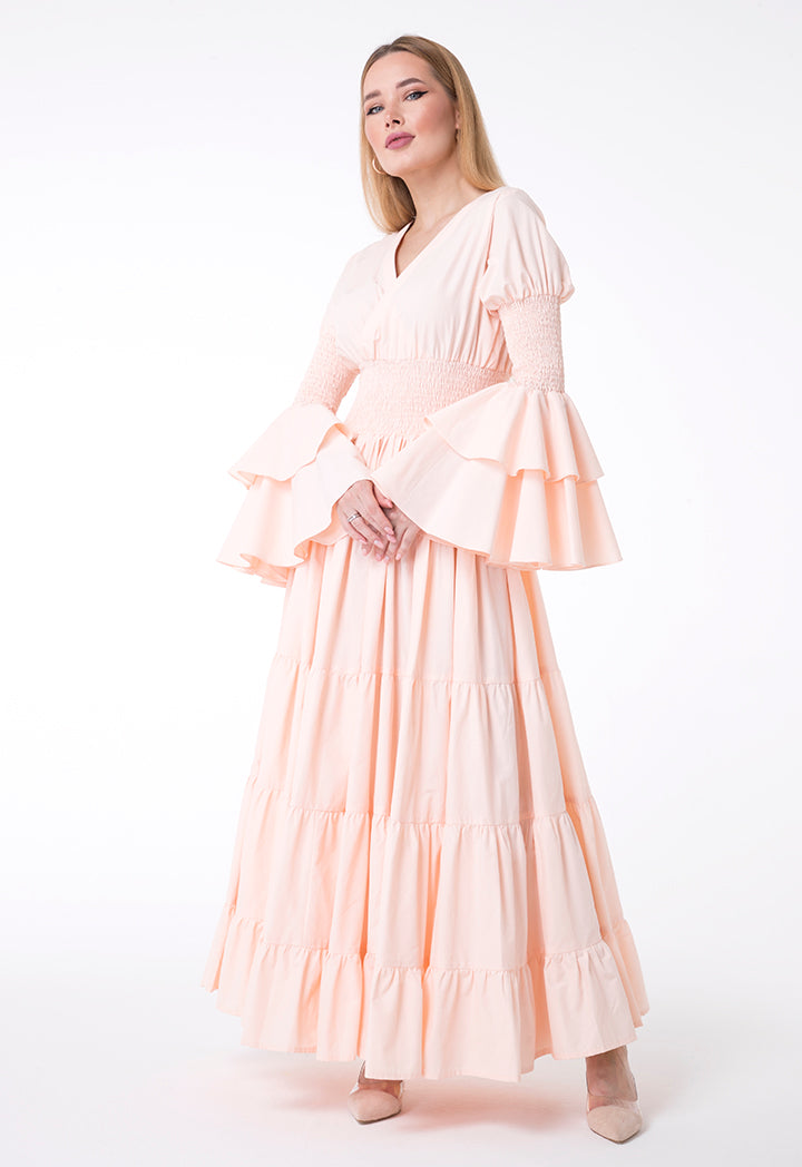 Overlay Ruffle Long Sleeve Tiered Dress Nude