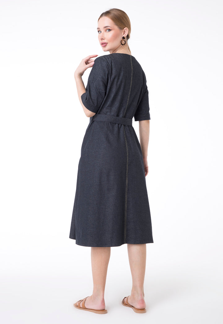 UNQ Denim Short Sleeve Belted A-Line Midi Dress DARK GREY