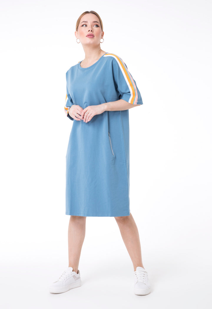 UNQ Striped Shoulder Short Sleeve Shift Midi Dress BLUE