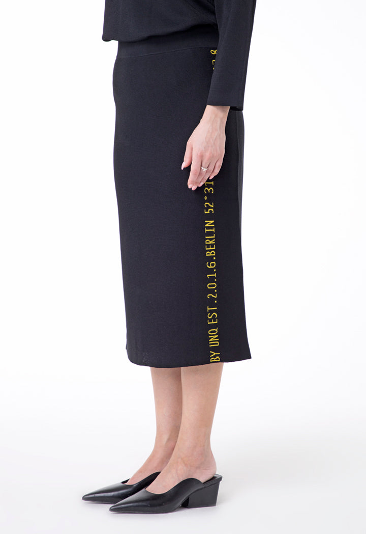 UNQ Printed Edge Elastic Waist Pencil Skirt BLACK