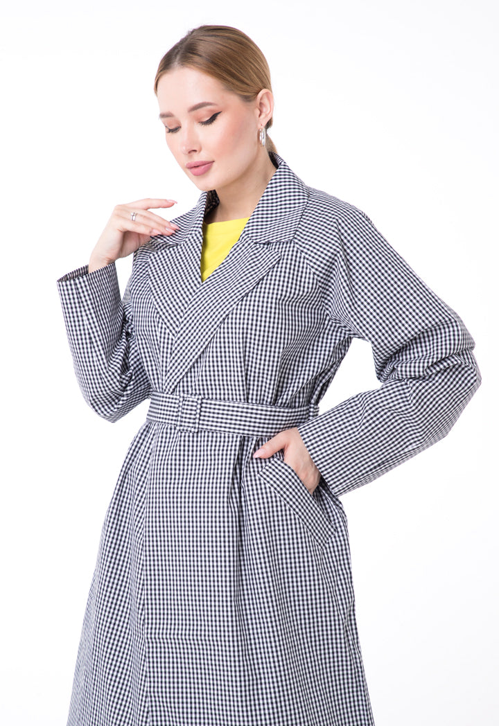 UNQ Checkered Notched Collar Long Sleeve Belted Coat BLACK