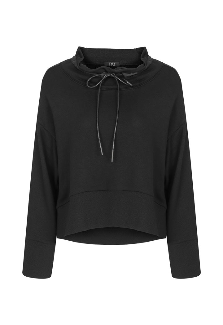 Nu Long Sleeve Pullover Drawstring Hoodie Sweatshirt Black