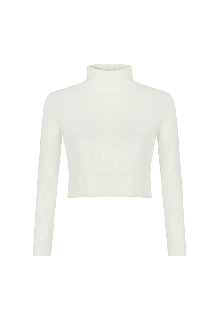 Nu Long Sleeve Turtle Neck Short T-Shirt Off White