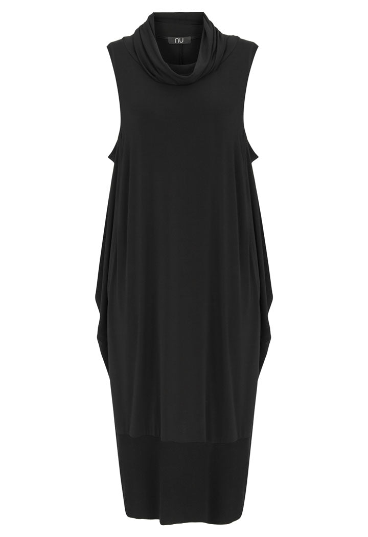 Nu Cowl Neck Sleeveless Dress Black