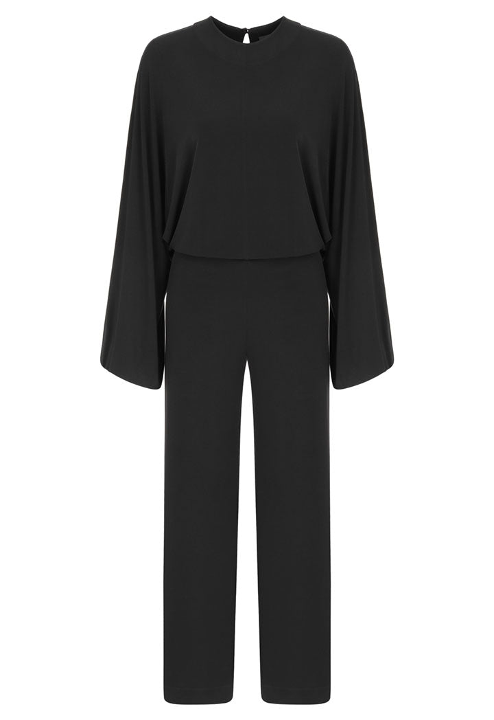 Nu Long Sleeve Back Keyhole Relaxed Fit Jumpsuit Black